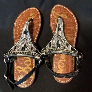 Black/gray/white beaded sandal
